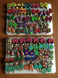 Terracotta Jewellery Making, Terracotta Jewellery Designs, Terracotta Earrings, Funky Jewelry, Fabric Jewelry, Teracotta Jewellery, Biscuit, Doll House Crafts, Stained Glass Flowers