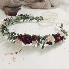 Excited to share the latest addition to my shop: Burgundy Flower Crown. Blush and burgundy flower crown. Pink floral crown Source by Burgundy Flowers, Blush Flowers, Flowers In Hair, Diy Flower Crown, Flower Crown Wedding, Wedding Hair Floral Crowns, Flower Crowns, Hair Wedding, Cheap Wedding Flowers