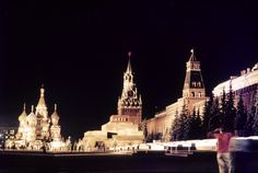 Soviet Union - Moscow - Red Square by night. (1972)