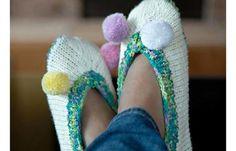 knit playful pom pom slippers   the knitting space
