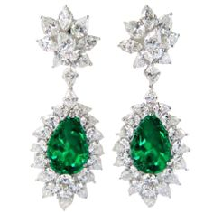 Diamond Emerald Platinum Earrings thumbnail 1