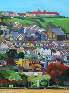 From Beach To Brow, View of Swansea, South Wales, Oil Painting. Swansea Bay, Swansea Wales, Time Painting, Oil Painting On Canvas, Urban Setting, City Art, Local Artists, Animal Paintings, Urban Art