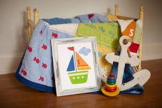 Pottery Barn Baby Boats, Kid's Sailboats, Nautical Ocean Bathroom decor, Wall Art 8x 10 Print, Boy Nursery, blue, orange, green. $20.00, via Etsy.
