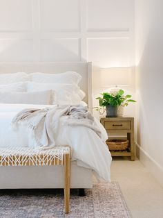 h o m e Bedroom ideas, guest bedroom refresh, modern coastal bedroom, board and batten, simple cozy Guest Bedroom Decor, Bedroom Ideas, Guest Room, Neutral Bedroom Decor, Neutral Bedrooms, Style Deco, Suites, Modern Bedroom, Coastal Master Bedroom