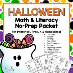 Halloween Math & Literacy No-prep Packet for Preschool, PreK, K & Homeschool