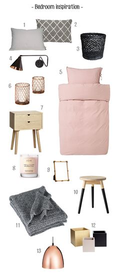 Bedroom inspiration: mix of grey, black, soft pink, copper and wood