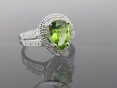 Vintage Solid White Gold Genuine Peridot & Diamond Halo Ring Size 7 by on Etsy 14k Gold Ring, Halo Rings, Halo Diamond, Peridot, Heart Ring, Gemstone Rings, White Gold, Engagement Rings, Etsy