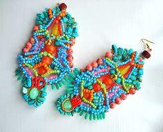 Tatiana Earrings by Anita Quansah London Beaded Earrings, Beaded Jewelry, Crochet Earrings, Handmade Jewelry, I Love Jewelry, Statement Jewelry, Jewelry Making, Feather Jewelry, Jewelry Patterns