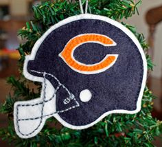 Felt Christmas Ornament Chicago Bears Football by FeltNostalgic