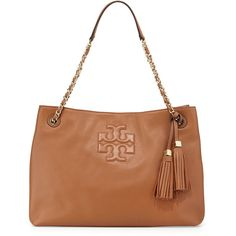 Tory Burch Thea Large Chain Tote Bag ($495) ❤ liked on Polyvore featuring bags, handbags, tote bags, zippered tote, tory burch shoulder bag, hand bags, zippered tote bag and handbags shoulder bags