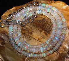 41 CT 2.5-5 MM 16 NATURAL GENUINE ETHIOPIAN WELO FIRE OPAL BEADS NECKLACE-R7909