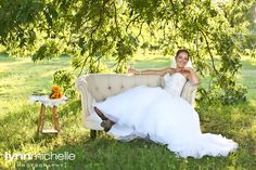rustic outdoor bridals, vintage couch open field