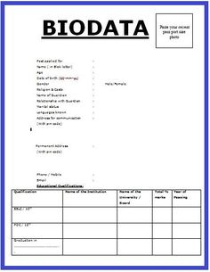 6 Simple biodata format for job application - All contracts in 1 place Resume Writer, Resume Help, Resume Tips, Resume Format Free Download, Biodata Format Download, Job Application Sample, Bio Data For Marriage, Basic Resume, Resume Services