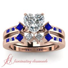 Shop heart shaped kite style channel set accent diamond wedding ring set with sapphire in rose gold at Fascinating Diamonds. This diamond engagement ring is designed in Prong, Diamond Wedding Sets, Sapphire Wedding, Gold Wedding, Wedding Shoes, Blue Sapphire, Dream Wedding, Wedding Dresses, Heart Shaped Diamond, Best Diamond
