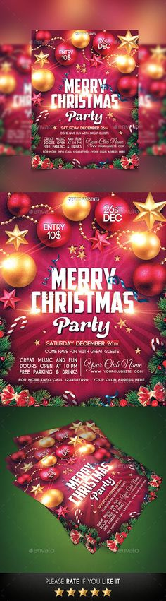 Merry Christmas Party Flyer Template PSD #design #xmas Download: http://graphicriver.net/item/christmas-party-flyer/13569996?ref=ksioks