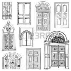 porte ancienne: ensemble de porte. Collection de main tiré portes croquis vintage.