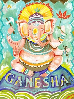 Ganesha art print Hindu Wall Art Elephant Deity by thewheatfield Arte Ganesha, Lord Ganesha, Shri Ganesh, Krishna, Om Gam Ganapataye Namaha, Little Buddha, Acrylic Artwork, Indian Gods, Spirituality