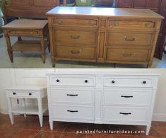 Three best latex paints for furniture and wood. Shown - Drexel Dresser Set Refinished in White. From Painted Furniture {Ideas}