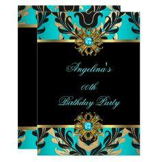 Elegant Damask Teal Blue Gold Black Birthday Party Card