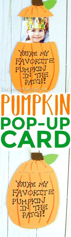 Super cute kid-made pop-up photo pumpkin card that's perfect for Fall holidays - Thanksgiving & Halloween. Free printable pattern! via @https://www.pinterest.com/soccermomblog