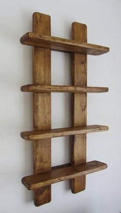 tall shabby chic rustic reclaimed wood 4 tier floating shelf / trinket shelves / display shelves / spice rack - Rustic old wood 4 tier floating display shelves. Handmade from recycled wood. Finished in antique b - Wooden Pallet Projects, Wood Pallet Furniture, Woodworking Projects Diy, Wooden Pallets, Diy Furniture, Recycled Timber Furniture, Modern Furniture, Handmade Wood Furniture, Furniture Design