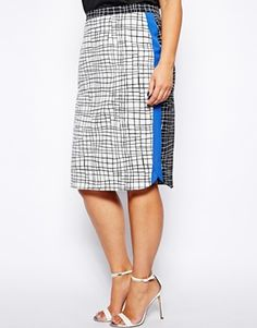 ASOS CURVE Skirt In Check Print