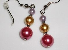 lavender yellow and pink faux pearl hand made earrings hypo allergenic