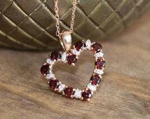 Diamond and Garnet Heart Necklace in 10k Rose Gold January Birthstone Pendant Gemstone Drop Necklace