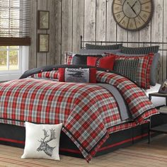 Wanting this bedding for one of the bedrooms! red and gray plaid