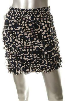 Diane Von Furstenberg NEW Pattern Blue Silk Mini Skirt Ruffle
