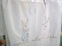 Vintage Baby Sheet Embroidered Bunnies 1920