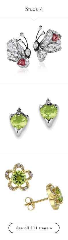 """Studs 4"" by thesassystewart on Polyvore featuring jewelry, earrings, peridot earrings, sterling silver earrings, sterling silver heart jewelry, peridot jewelry, diamond jewelry, green, flower earrings and long diamond earrings"