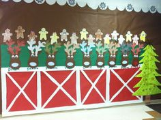 Christmas barn and reindeer bulletin board idea...would not use gingerbread with it though :)
