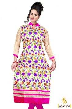 Build divine prestige with elegant pink color chanderi festive special kurti for…
