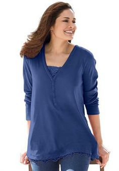 Plus Size Top, 2-in-1 t-shirt with lace trim image