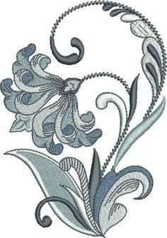 Pat Williams Embroidery Design: Queens Fleur De Lis Floral 4.97 inches H x 3.51 inches W