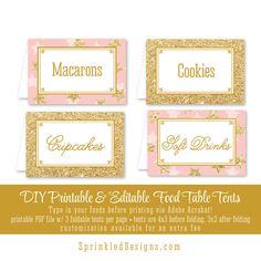 Printable Party Food Tents Folding Editable by SprinkledDesign