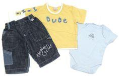 3-tlg. Kombination für Jungen: Hose, Langarmshirt, Kurzarmbody, Größe: 62  englische Mode