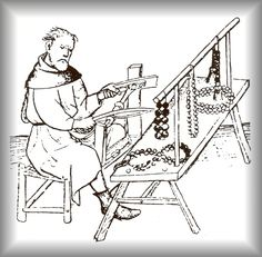 15c WOODCUT   This German woodcut from the 15th century images a paternoster maker cutting stones into beads.