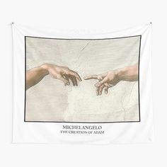 The Creation of Adam Michelangelo • Millions of unique designs by independent artists. Find your thing. Tapestry Bedroom, Tapestry Wall Hanging, The Creation Of Adam, Michelangelo, Bedroom Decor, Wall Art, Design, Dorms Decor