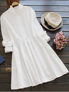 Long Sleeve Ruffle Collar Shirt Dress - WHITE ONE SIZE Style: Work Occasions: Causal,Day,Work Material: Cotton Dresses Length: Knee-Length Silhouette: A-Line Collar-line: Ruffled Sleeves Length: Long Sleeves Pattern Type: Striped With Belt: No Season: Fall,Spring Weight: 0.3700kg Package: 1 x Dress