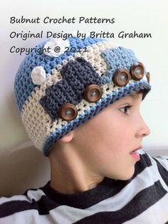 Easy Peasy Train Hat crochet pattern for boys No.109 Digital