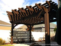 Extended roof for extra shade on a Western Timber Frame pergola over the back patio.