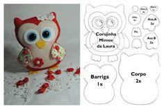 DIY Felt owl pattern you can choose any color you want. Afterwards stuff it and add it to your stuffed animal collection! Felt Owl Pattern, Felt Animal Patterns, Owl Patterns, Felt Owls, Felt Birds, Fabric Crafts, Sewing Crafts, Sewing Projects, Couture Bb