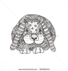 Hand Drawn Rabbit With Ethnic Floral Doodle Pattern Coloring Page