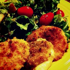 Goat cheese baked with salad