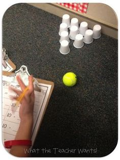 Great idea for subtraction. Set up ten cups, have the students bowl the tennis ball towards the cups, and create a subtraction problem based on their bowling. Can differentiate between the number of cups, the size of the ball, etc.