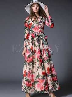 best=Chiffon Floral Print High Waist Long Sleeve Maxi Dress , These 2020 prom dresses include everything from sophisticated long prom gowns to short party dresses for prom. Chiffon Floral, Chiffon Dress Long, Print Chiffon, Floral Maxi Dress, Maxi Dresses, Boho Dress, Sleeve Dresses, Long Dresses, Robe Swing