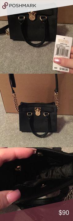 Michael Kors Mini Hamilton Black and gold Michael Kors mini Hamilton bag Michael Kors Bags Mini Bags