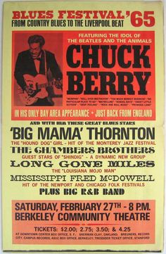 Chuck Berry, Big Mama Thornton, Chambers Brothers - 1965 Berkeley Blues Festival boxing style poster - Recordmecca